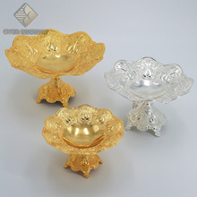 11 Inch Tulip Design Gold Plated Metal Round Shape Chocolate Fruit <strong>Plate</strong> With Stand