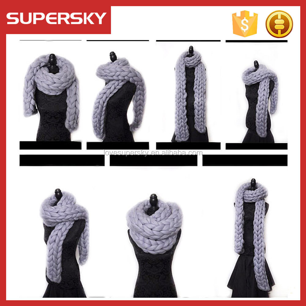 T702 infinity cable knitting chunky scarf handmade knit women merino wool scarf