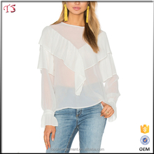 New arrivals fashion white ruffled trim accordion pleated mature ladies blouse
