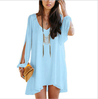 Walson 20152015 Spring Summer Women Slit Open Sleeve Blouse & Shirts Lady Fashion Blusas Femininas Tops women clothes