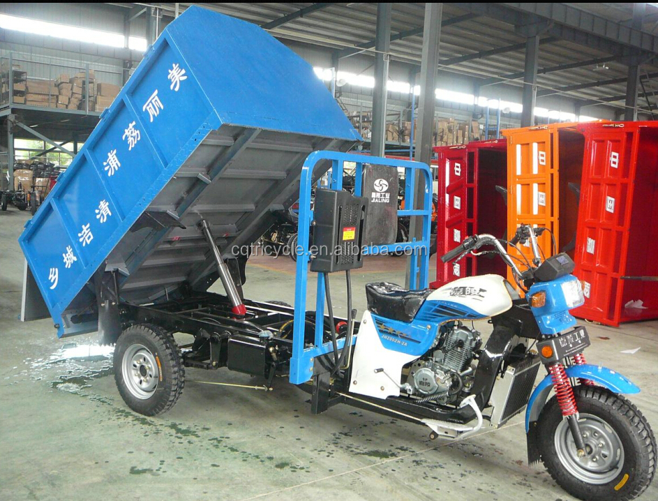 three wheel tricycle/garbage truck/enclosed green motor tricycle