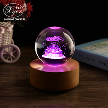 Wholesale 3D laser engraved glass crystal ball birthday gift with wooden base