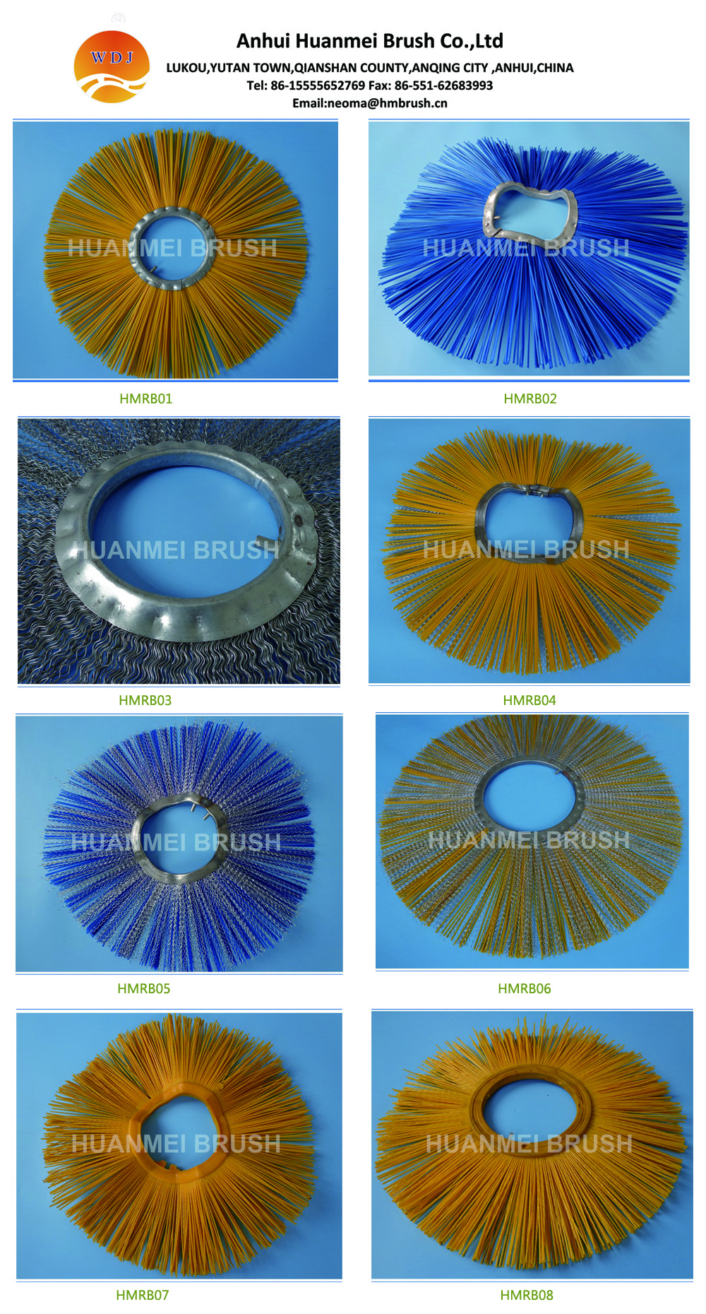 Polypropylene & steel wire brush sections