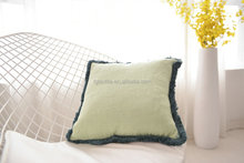TASSEL TRIM COTTON LINEN DECORATIVE LUXURY PILLOW DECORATIVE CUSHIONS