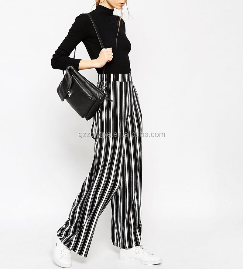 Loose high sexy fashion strip pattern women palazzo pants