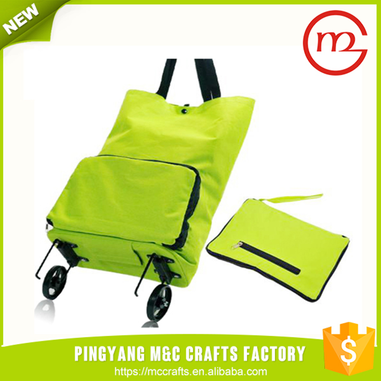 Fashion portable wheels foldable shopping travel trolley bag polyester
