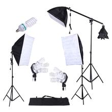 Photography Studio Light Kit 3pcs Softbox Tripod Stand 45W 135W Bulb Cantilever with Oxford Bag
