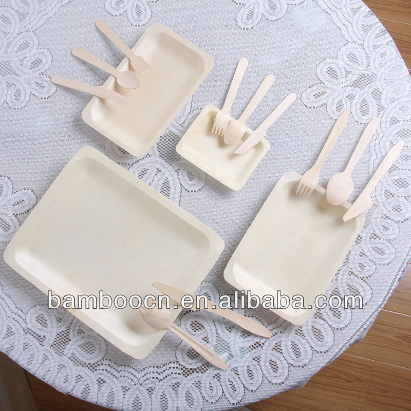 disposable rectangular wooden cheese plate/cake plate