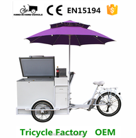 ice cream vending tricycle electric and pedal options factory price