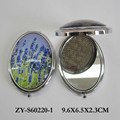 lavender oval compact mirror, makeup mirror, pocket mirror