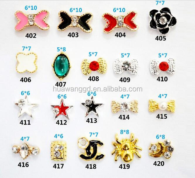 New design nail art stickers alloy nail art 3d nail art accessories for lady