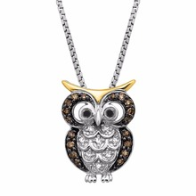 925 Sterling Silver Jewelry Champagne Diamond Owl Pendant Necklace