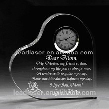 China made heart shape 3d laser engraved crystal wedding gifts
