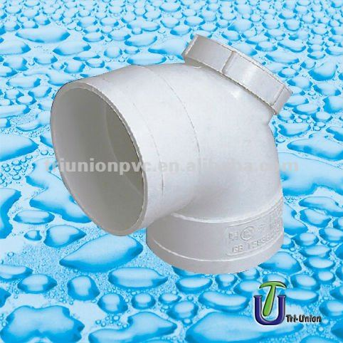 UPVC drainage 90 elbow with small door DIN/BS /plastic Elbows 90