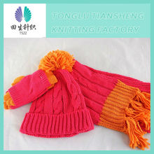 Fashion hot Selling new design pretty elegant lady plain hat and scarf set 2013