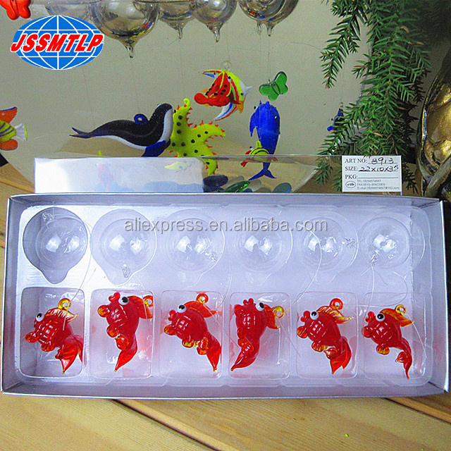 Customized murano floating glass animal fish figurines home dacoration glass red goldfish Miniature Figurines