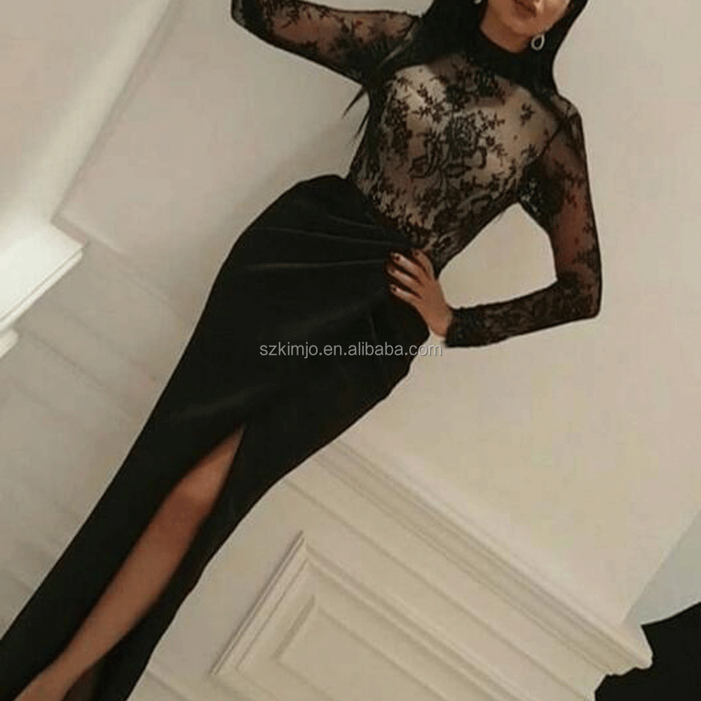 2017 High Quality Lace Mermaid Evening Dress Long Black High Neck Prom Dress with Slit