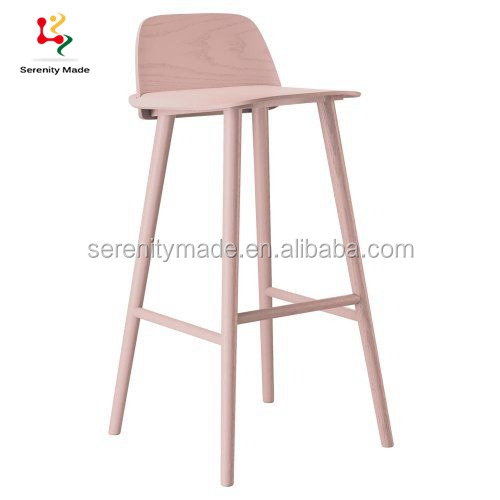 Hot sale restaurant replica wood nerd bar stool dining chair with high quality