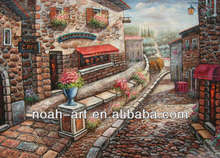 actual image show high quality village scenery oil painting