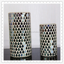 20*45cm Cylinder Shape Decorative Handmade Crackle Mosaic Tealight Lamp /Mosaic Glass Electric Hurricane Candle Lamp