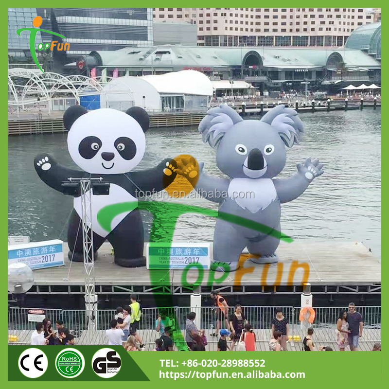 7.5M Theme Event Inflatable Panda With Led Light