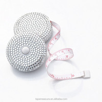 Mini Rhinestone Tape Measure,Round Retractable Diamond Tape Measure