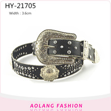 Retro style factory wholesale pu women lady diamond rhinestone belt