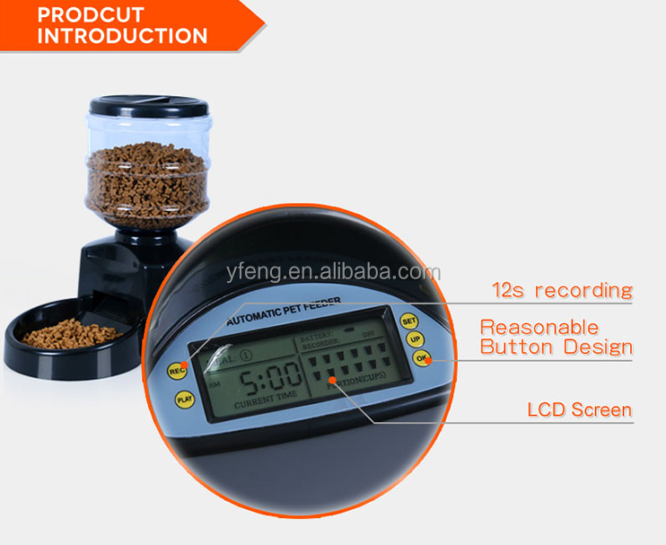 New Arrival High Quality feeder for dog LCD Digital Display Dog Cat Feeder Food Dish Dispenser With Recorder PF-19