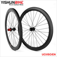 OEM !! 2017 Yishun Bike Full Carbon Fiber 700C Road/ CX Disc Brake Wheel 33mm Tubular Carbon Bicycle Wheels DB330T