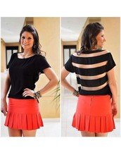 New York Wholesale Women Bulk Striped See-Through T Shirts With No Brand