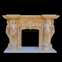 Decoration marble carving pebble fireplace