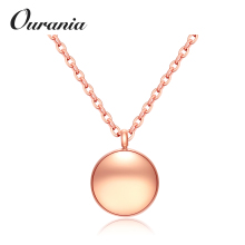 Wholesale Women Elegant Solid Circle Necklaces Rose Gold Color Stainless Steel Choker Pendant