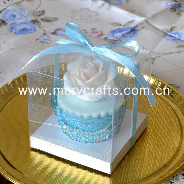 wholesale high quality PVC clear plastic box for cupcake decoration