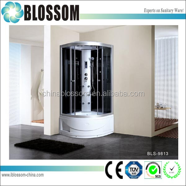 Corner bath shower white ABS high tray shower cabin prefab bathroom shower