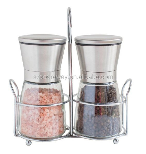 Stainless steel glass salt mill and pepper grinder set