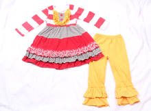 Adorable remake outfits fall wholesale ruffled pants sets& wholesale smocked christmas clothing 100% cotton ruffle pants sets