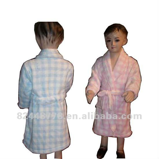 280 grams of coral cashmere printing kids bathrobe HFI-BR001
