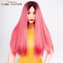 Aisi Hair Hot Selling Women's Long Straight Hair Synthetic Ombre Pink Wigs For Black Women