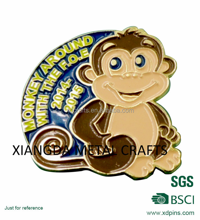 Monkey design with gold metal badge