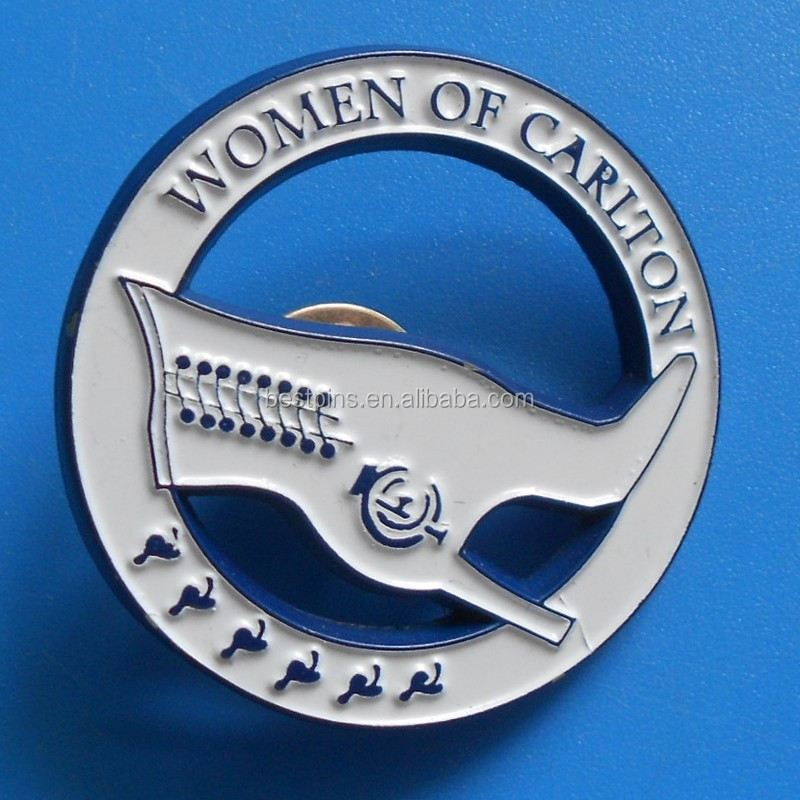 high heel shoe lapel pins, custom women of carlton badges, metal zinc alloy emblem