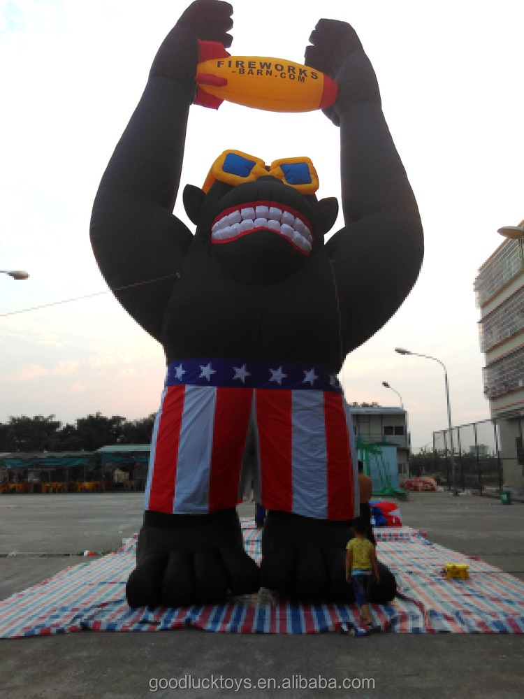 10 meters high 2016 Customized outdoor inflatable cartoon characters, giant inflatable gorilla for sale