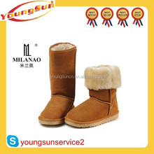 Cow suede fashion chestnut half snow woman boot