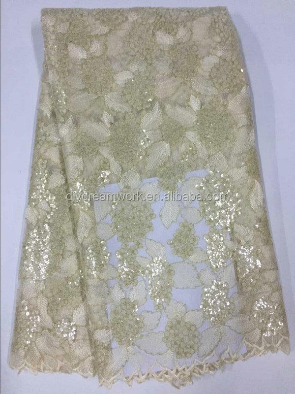 Hot selling african french white lace fabric / high quality tulle lace for african parties / tulle lace with sequins