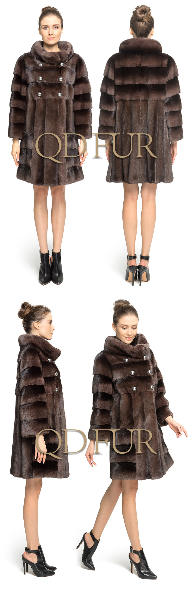 QD70810 Lady Winter Long Genuine Natural European Mink Coat