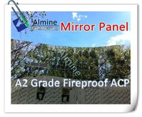 A2 grade Almine fireproof mirror aluminum composite panel with strong resistance to high and low temperature