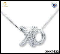 Small 925 Sterling Silver Exclamations Love XO Diamond Pendant Necklace