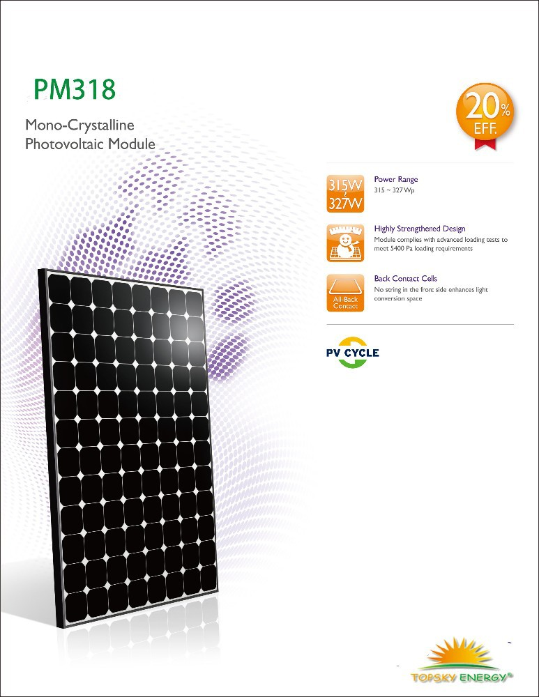 19.3%-20.1% efficiency 327W mono <strong>sun</strong> power 5*5 cells 96pcs Black Frame Solar Panel