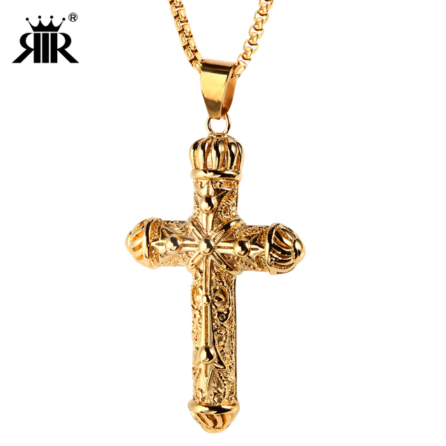RIR Gold King Cross Pendant Necklace,Bulk Sale Men's Cross Jewelry,Vintage Crucifix For Man