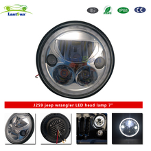"J259 lantsun 7"" 55W/35W round high low beam led halo headlight for jeep wrangler jk 07+"