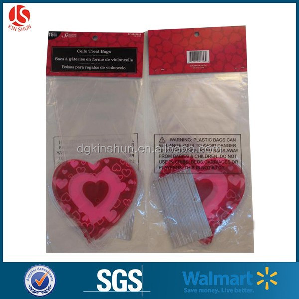 Fancy printing valentine decoration cellophane candy packing cellophane gift wrap bag